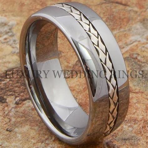 tungsten mens ring wedding band silver braid inlay
