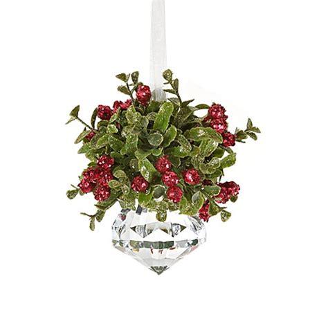 kissing krystal small christmas mistletoe ornament bed