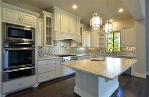 Model home kitchen cabinets in Bone white -Burrows Cabinets