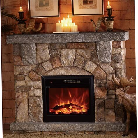 depiction  stone electric fireplace  modern rustic
