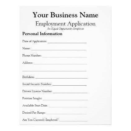 general employee job application form business flyer