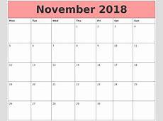 November 2018 Calendars That Work