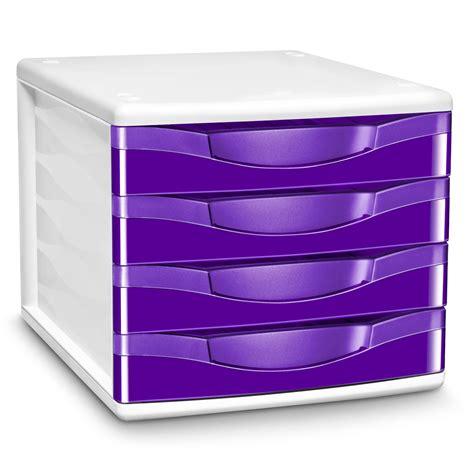 module de classement bureau cep module de classement 4 tiroirs gloss violet 894g