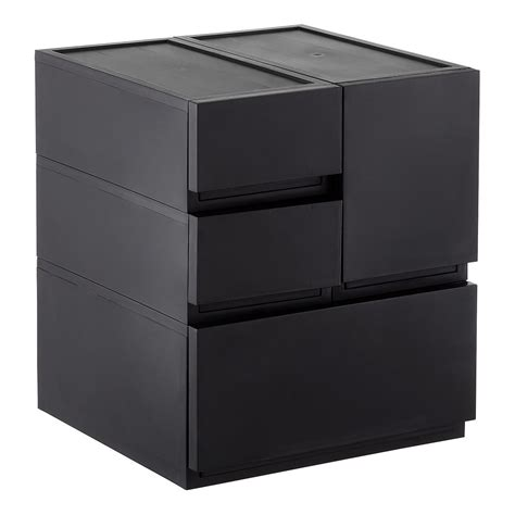 stackable storage drawers black opaque modular stackable drawers the container