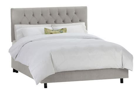 gray tufted bed thea velvet tufted bed light gray panel from one