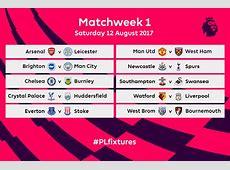 Premier League fixtures for 201718 released