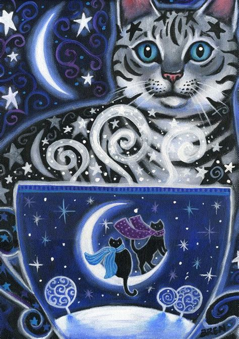 Moon paintings have been a part of chinese and japanese art for many centuries. Solstice Magic - 5x7 Winter Cat Coffee Scene - Part of the Coffee Magic Series of Paintings ...