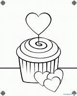 Cupcake Coloring Pages Cupcakes Drawing Line Birthday Screen Print Cute Heart August Clipart Icolor Printing Designs Popular Paste Eat sketch template