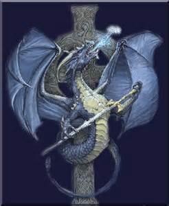 Blue Dragon Celtic Cross