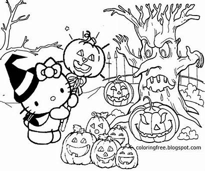 Coloring Halloween Pages Drawing Kitty Hello Printable