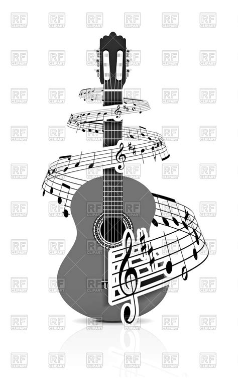 notes  guitar design vector image  objects
