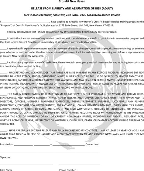 crossfit gym contract template  printable