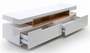 Meuble Tv Blanc Et Bois : meuble tv blanc laqu et bois id es de d coration int rieure french decor ~ Teatrodelosmanantiales.com Idées de Décoration