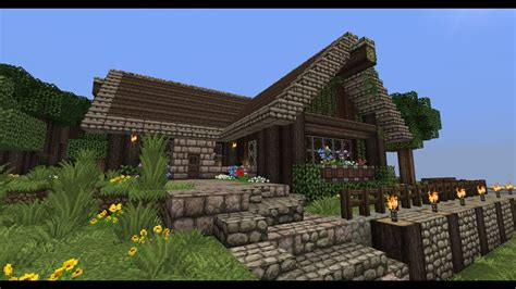 minecraft  shaped rustic house tutorial youtube