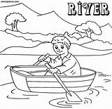 River Coloring Pages Boat Print Nature Colorings Coloringway sketch template