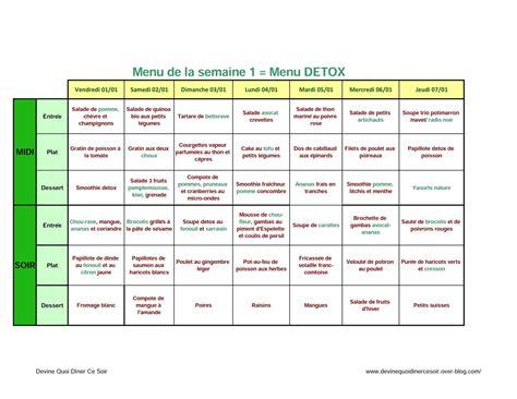 recette de cuisine pour maigrir menu détox 1 semaine régime pauvre en calories