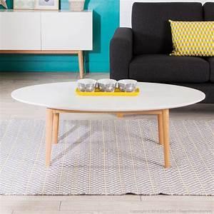 Table Basse Blanche Ovale : table basse ovale avec plateau blanc ~ Teatrodelosmanantiales.com Idées de Décoration