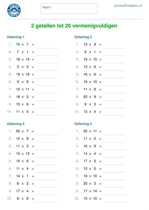 Werkbladen Rekenen 1 2 by Werkblad 2 Getallen Tot 20 Vermenigvuldigen