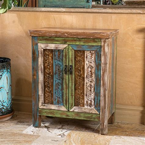 Leo Solid Wood 2 Door Cabinet in Antique Weathered Multi