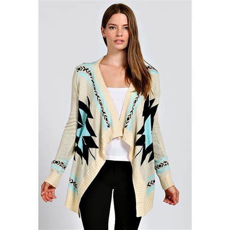 Light Cardigan by Aztec Print Cardigan Sweater Light Blue Ivory Open
