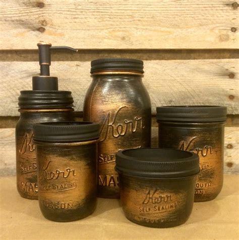 Rustic Bathroom Sets by Vintage Jar Bathroom Set Black Copper Bathroom Set