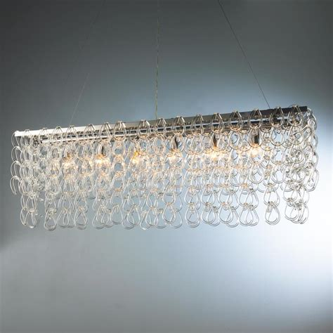 Glass Chain Chandelier by Rectangular Glass Chain Island Chandelier Small