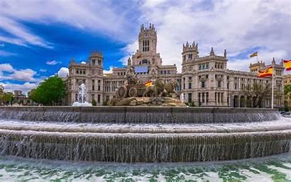 Madrid Spain Cibeles Plaza Flag Spanish Fountain