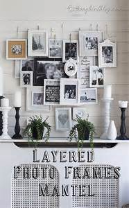 Layered Picture Frames On Mantel