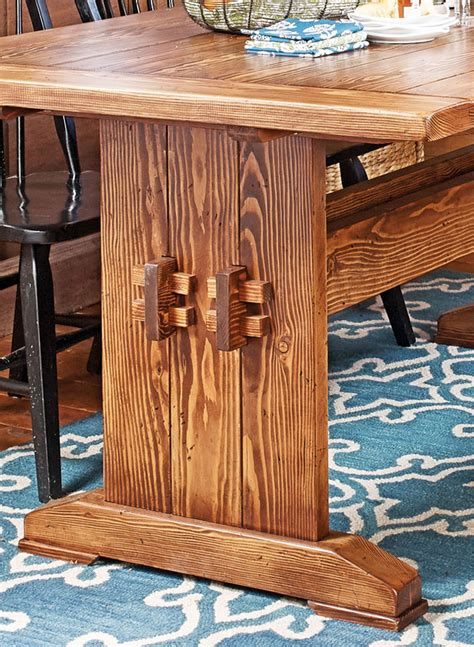 farmhouse table bench woodworking project woodsmith