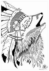 Coloring Native Wolf Pages American Tribal Headdress Indian Teepee Adults Feather Drawing Adult Americans Symbols Printable Woman Indians Dreamcatcher Getcolorings sketch template