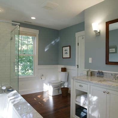 """Bathroom Color  Benjamin Moore """"smoke""""  Our House. Melamine Cabinets. 48 Table. Beige And Black Rug. Gable Windows. High Back Chair. Custom Made Curtains. Chippendale Bar Stool. Exterior Pocket Door"""