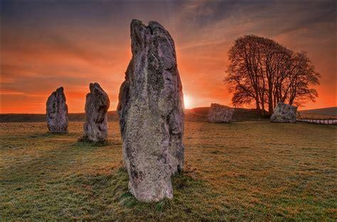 hd sunset field rocks trees landscape image