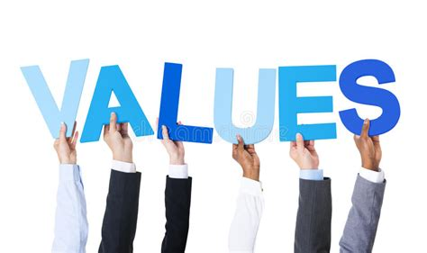 multiethnic business people holding word values stock