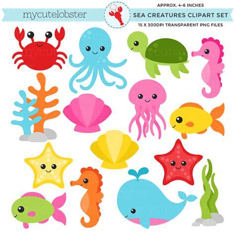sea creatures clipart sea creatures clipart set sea animals by mycutelobsterdesigns