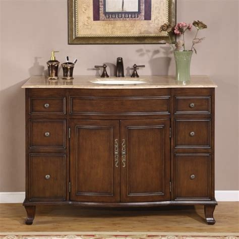 The cabinet boasts a charmingly subtle design with. Silkroad Exclusive Single Sink 48-inch Travertine Top ...