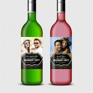 custom photo wine bottle label for engagement rehearsal With custom photo wine bottle labels