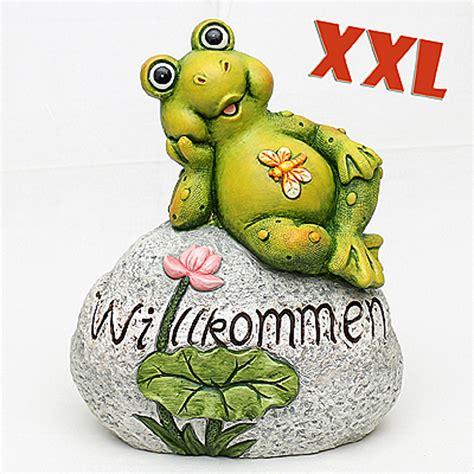 Gartendeko Willkommen by Willkommenstein Mit Frosch Keramikfigur Sigro