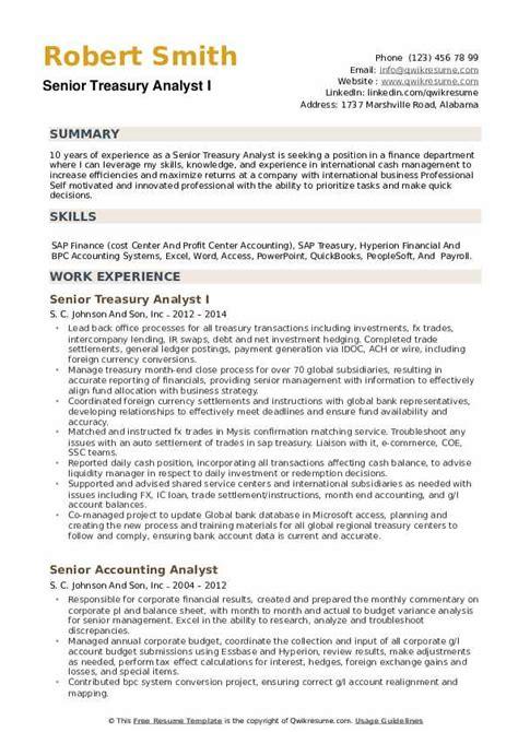 senior treasury analyst resume samples qwikresume