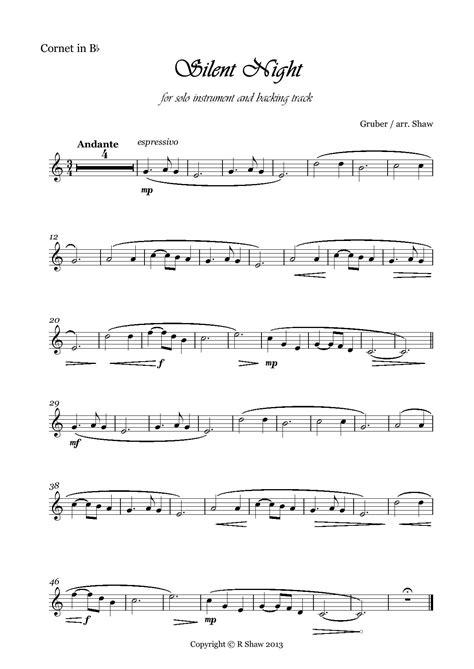 silent night music brass sheet cornet solo hub bb