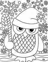 Owl Coloring Santa Printable Snow Them sketch template