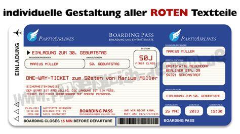 einladungskarten als flugticket zum geburtstag ticket