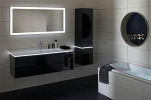 Colonne Salle De Bain Noir : maison meuble de salle de bain colonne noir avec led carrelage mural blanc ~ Teatrodelosmanantiales.com Idées de Décoration