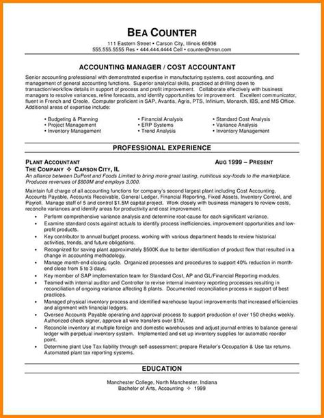 Career Objective Accounting Resume Sle by Accounting Resume Objective Sle Accountant Resume 10 Exles In Word Pdf Sle Objective 40 Exles