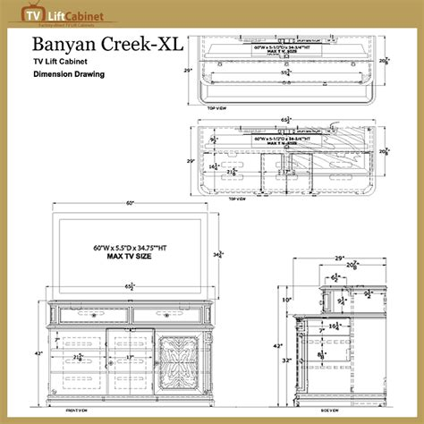 banyan creek tv lift cabinet tv lift cabinet banyan creek xl lift for 40 62 inch