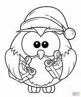 Coloring Owl Gift Boxes Printable Drawing Crafts sketch template