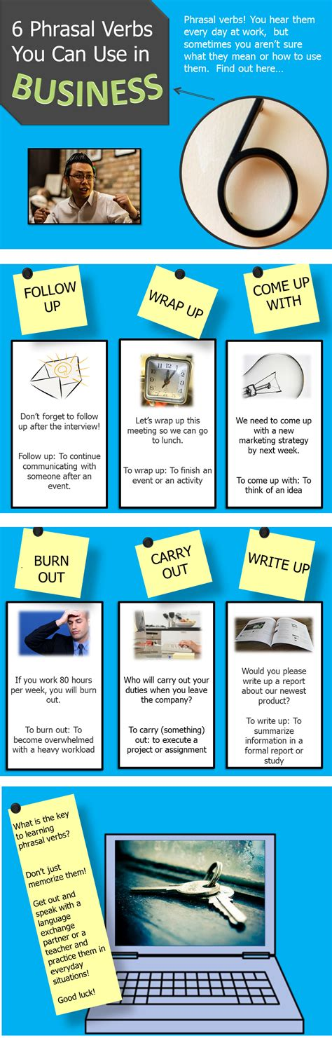 6 English Phrasal Verbs You Can Use At Work Today  Esl Infographics  Pinterest  English, Work