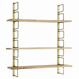 Etagere Bois Design : etagere murale laiton et bois hauteur reglable 64x13x74 cm ~ Teatrodelosmanantiales.com Idées de Décoration