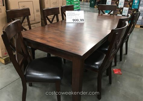 costco dining table in store imagio home 9 piece solid wood dining set costco weekender