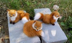 3 pieces a set simulation cute fox toys lifelike mini ...