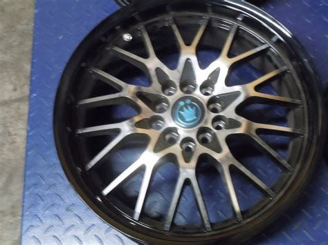 Set Of 4 Konig Lace Black Wheels (rims) With Machined Face